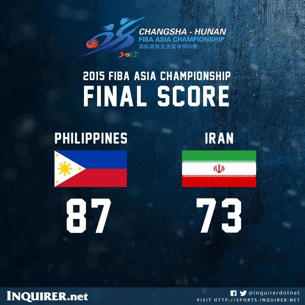 Gilas Pilipinas stuns Asian champion Iran! http://t.co/E7BLVRFiIu
