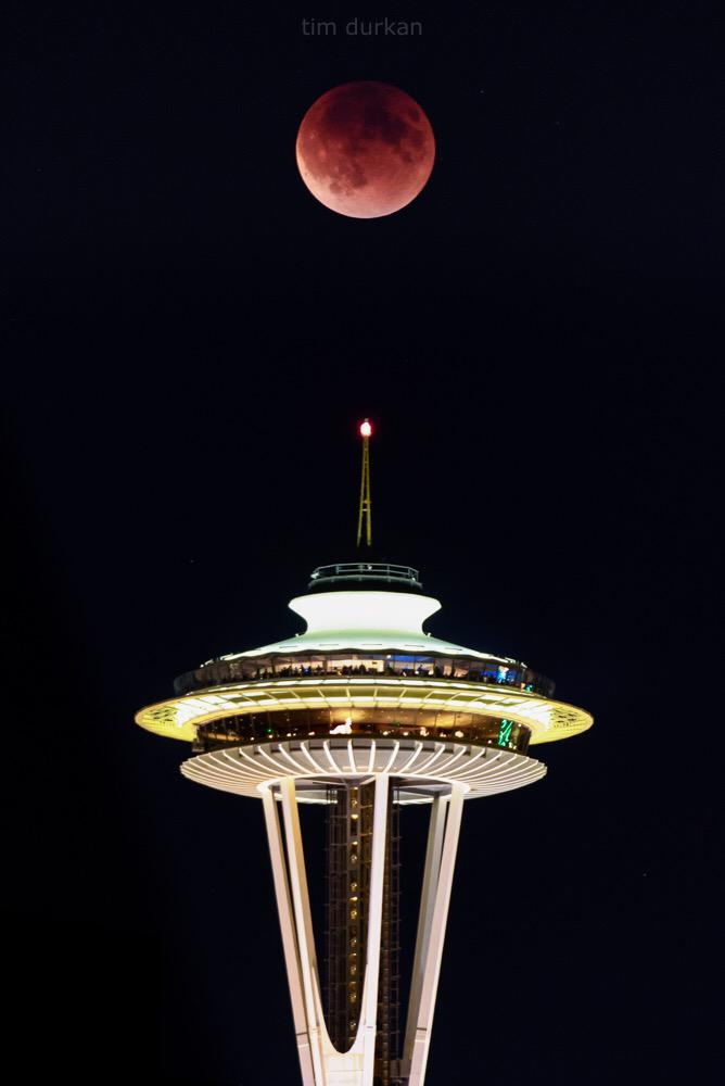 Tonight's #SuperBloodMoon from Seattle with a side of Space Needle - AMAZING! http://t.co/sfIXnsSSTc