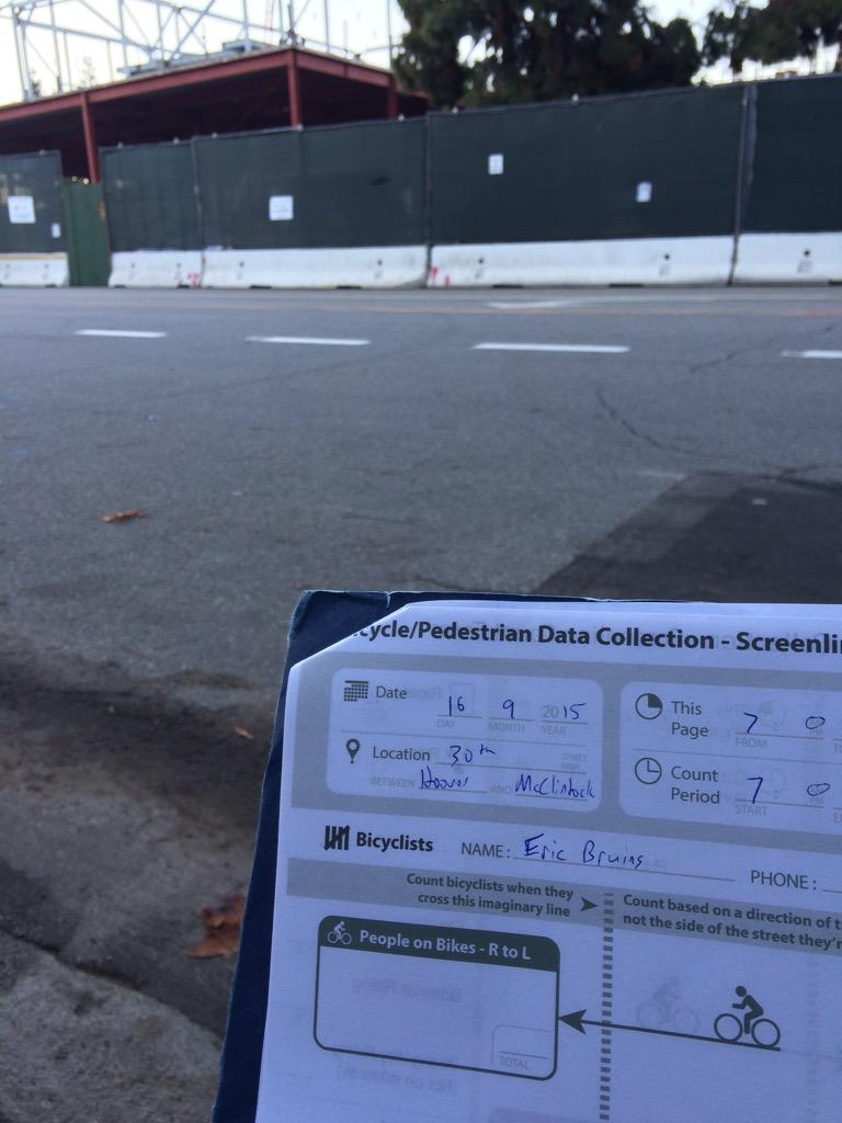 On location at 30th/Hoover by #USC for #LABikePedCount. Let's count! #bikeLA #walkLA http://t.co/ZXTVIIhIfx