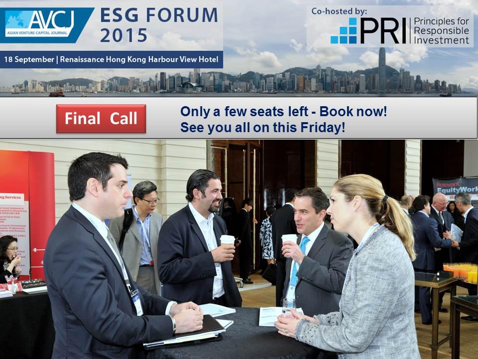 Final call! 130+ registered delegates at 2015 #AVCJ #ESG Forum http://t.co/K6dNxmOHVx #avcjesg  #pe #vc #UNPRI http://t.co/UE9OqlRgy9