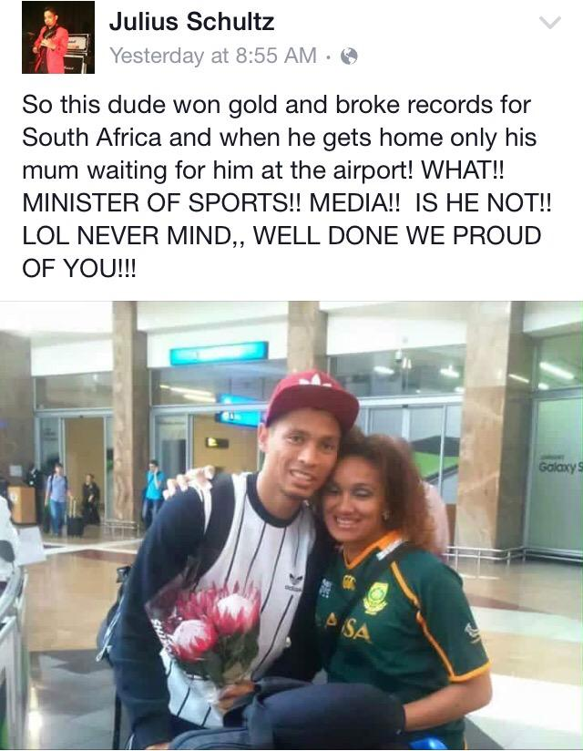 So I just saw this on Facebook. Wade van Niekerk won gold at IAAF for 400m sprint.   Only his mom.   How?