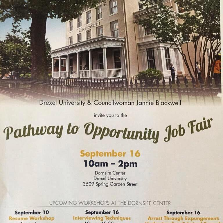 Happening TODAY! Join @DrexelUniv & Councilwoman Blackwell for the Pathway to Opportunity Job fair, Sept 16th. #Jobs http://t.co/EvUoZSC0Vs