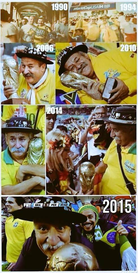 ブラジル代表戦でおなじみのワールドカップおじさんことClovis Acosta Fernandezさん、ガンでの9年間の闘病の末、60歳で逝去されたとのツイートが複数流れてきました。ご冥福をお祈りいたします http://t.co/QDvODNyVYe
