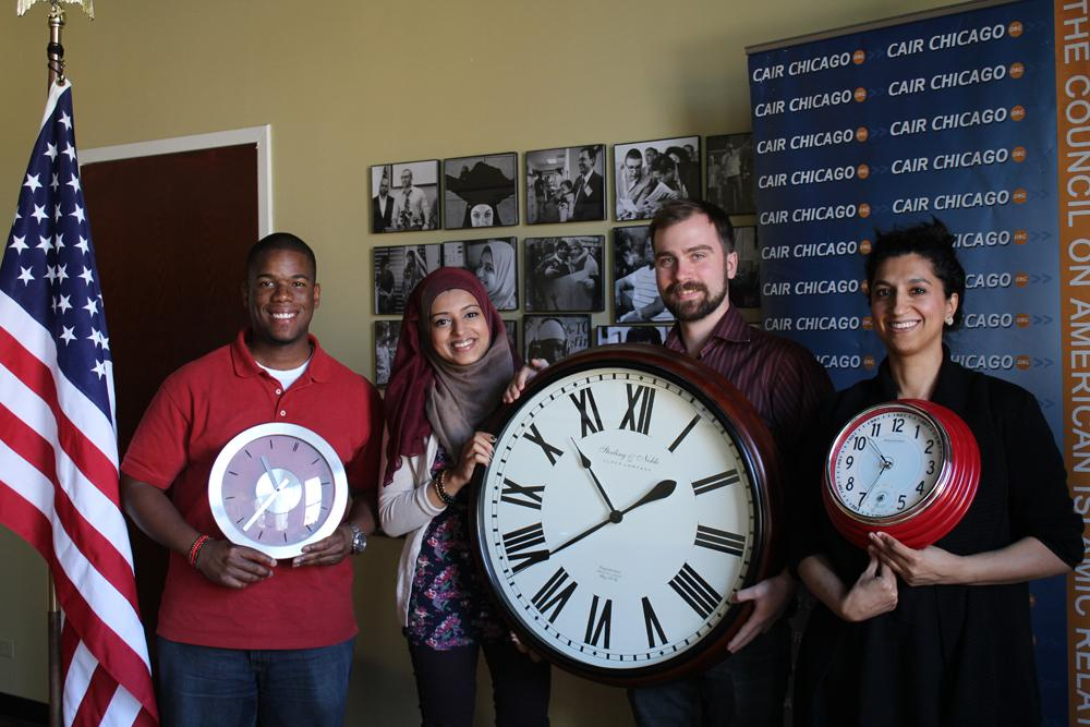 In solidarity with @IStandWithAhmed CAIR-Chicago staff brought our clocks to work too. #IStandWithAhmed http://t.co/NK9CWhyfru