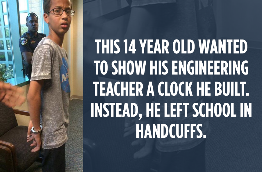 Retweet this to say #IStandWithAhmed. Kids shouldn't be punished for curiosity. http://t.co/LWsZ0SrWpn http://t.co/TRweZF91Ls | @idltweets