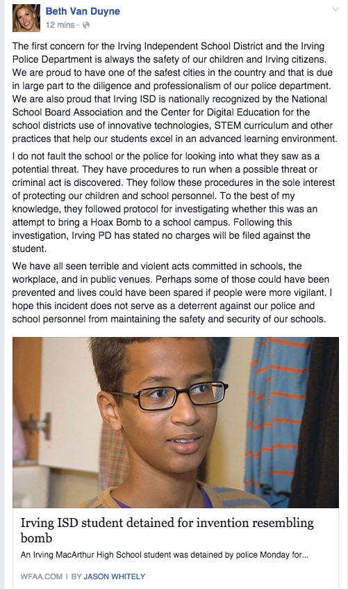 If you're wondering what the Irving mayor has to say about all of this, here you go. #IStandWithAhmed http://t.co/V6nd0OCFnU