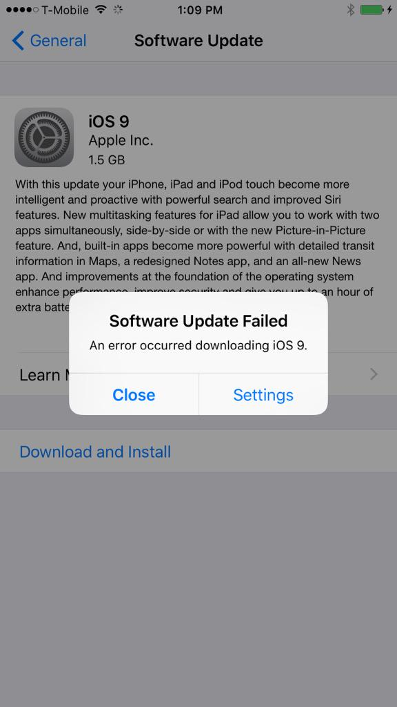 Looks like iOS 9 doesn't want to come out and play #ios9fail #iOS9 #Apple http://t.co/9yuWzGhQgn