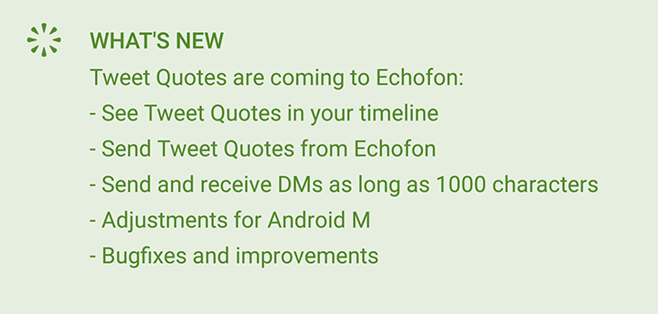 Echofon - Android update is rolling out now. Download today: https://t.co/weGLow3bwG http://t.co/4gRUwWYVdD