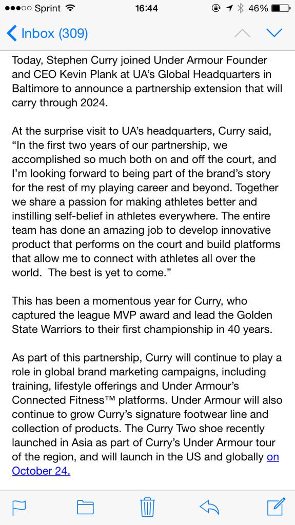 Stephen Curry, Under Armour contract