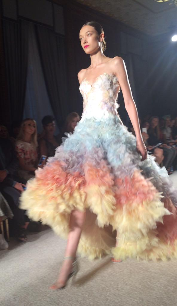Petals, plumage and tulle at @MarchesaFashion #NYFW http://t.co/5LCEGXkBWE