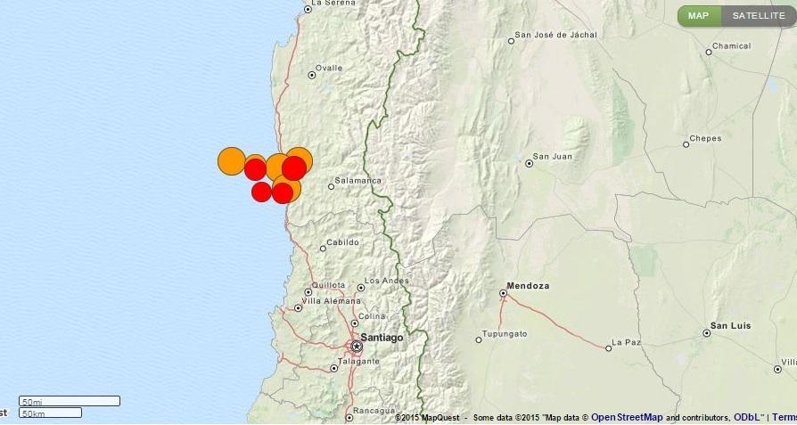 Scosse di terremoto di assestamento in Cile, la mappa.