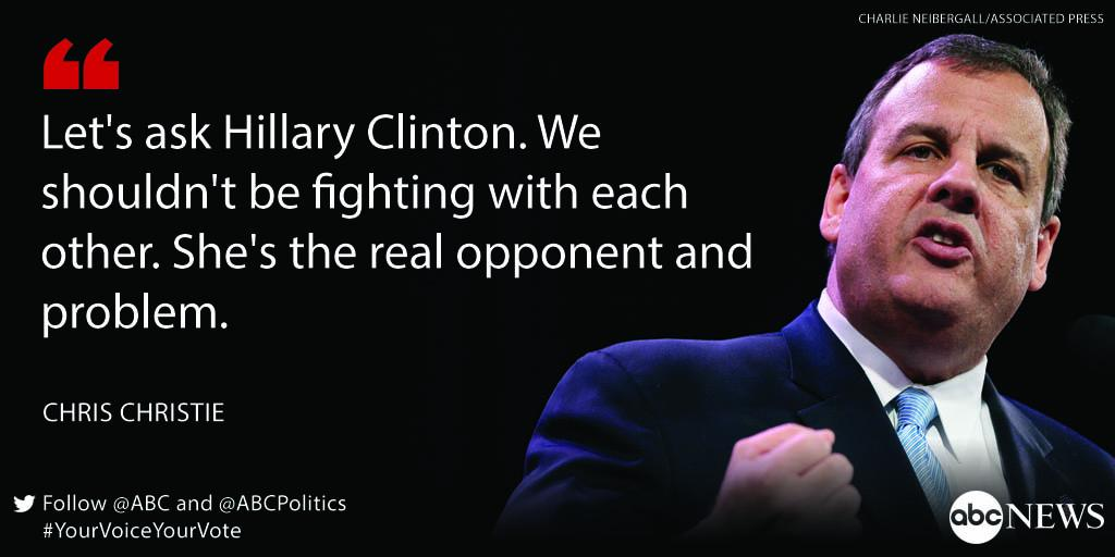 "#news Chris Christie on Hillary Clinton: ""We shouldn't be fighting with each other. She's the real opponent and pr… http://t.co/XS85LmyWKm"