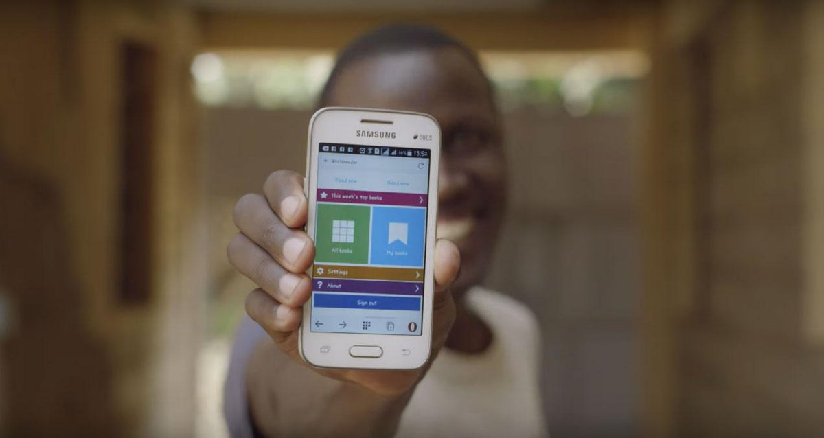Opera and @worldreaders distribute digital books to 5M people in 34 countries across Africa. http://t.co/X1xE7hZYDE http://t.co/mXV3Obacs4