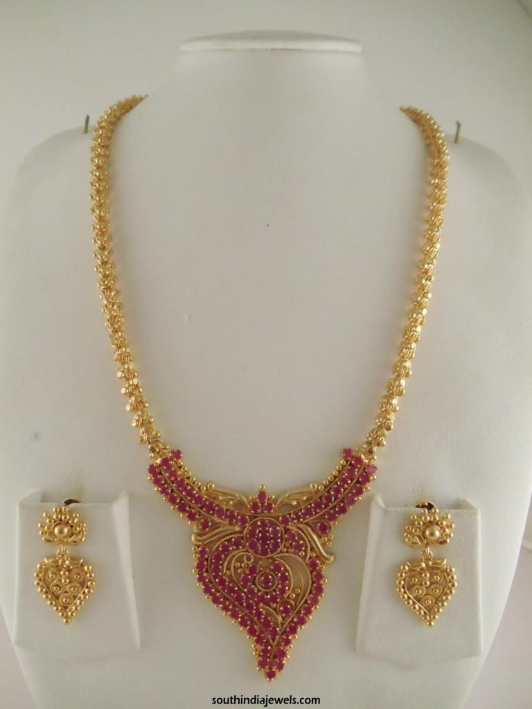 South india jewels on twitter one gram gold ruby long necklace south india jewels on twitter one gram gold ruby long necklace design httpti1jyrw7eyj jewellery gold necklace httpt0knu6lqe8m mozeypictures Image collections