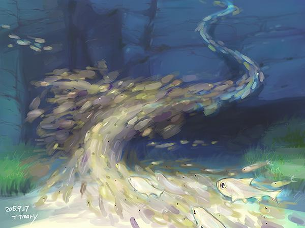 水族館で撮影した画像みながら魚の群れをどう表現するかのテスト。群れを塊としてザックリ捉え一つの流れにって想像以上にむずかったのでございます(汗