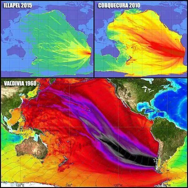 Tsunami di 3 forti Terremoti in Cile a confronto 1960 2010 e 2015.
