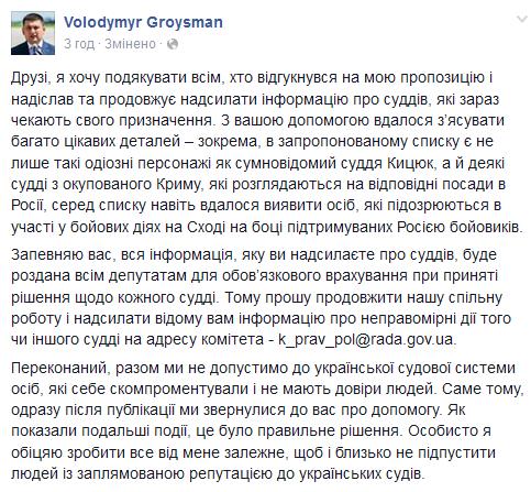 Кроме Кицюка бессрочно могут быть назначены судьями предавшие Украину крымчане и боевики, - Гройсман - Цензор.НЕТ 3572