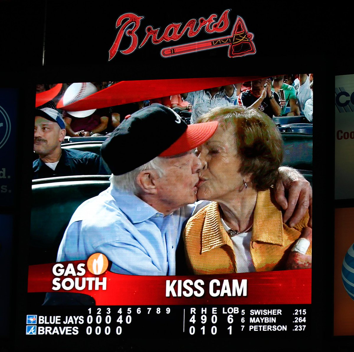 Jimmy Carter and wife Rosalynn share smooch on 'kiss cam' on Valentine's Day