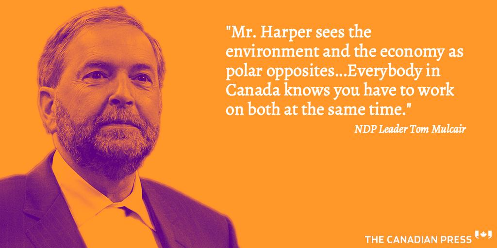 NDP Leader Mulcair on the environment during the #elxn42 #cdnpoli debate: