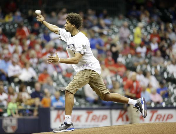 Michael Carter-Williams hits cameraman with first pitch at Brewers game