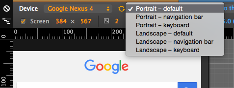In Chrome Dev Tools device emulation, for certain devices the portrait/landscape toggle becomes a drop-down to indicate that there are more options to choose from.