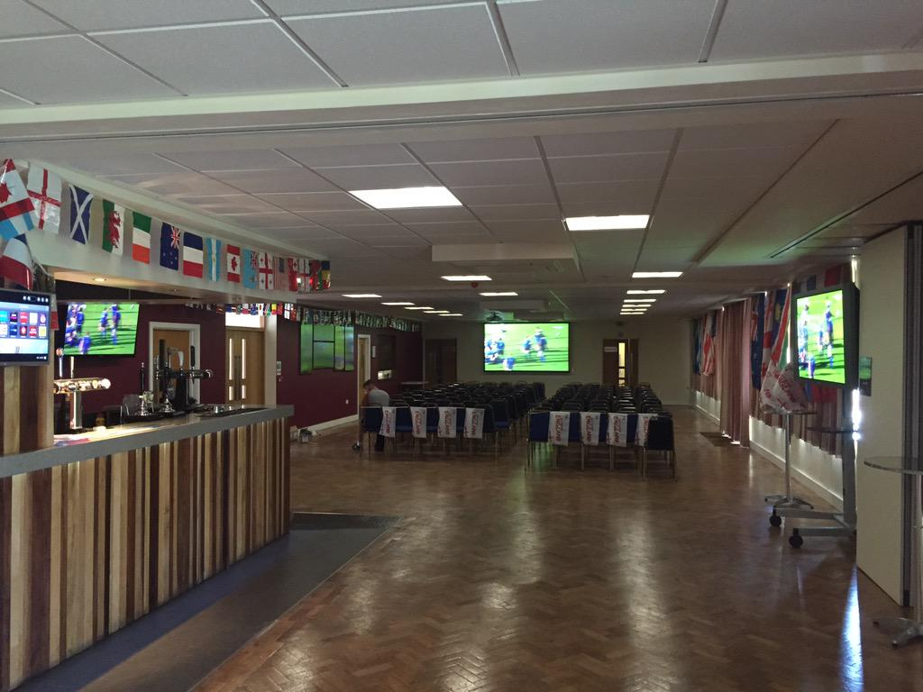 Aylesbury's Rugby HQ @AylesburyRFC is ready for the opening ceremony and game. Come and watch it with us from 6pm. http://t.co/GEnUxz7DqU