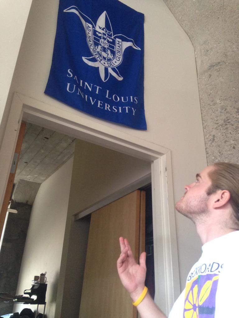 """School spirit is the essence of the billiken coming forth through SLU's Jesuit mission""-trey Poche, junior #SLUvLU http://t.co/lwJYBMtcYj"
