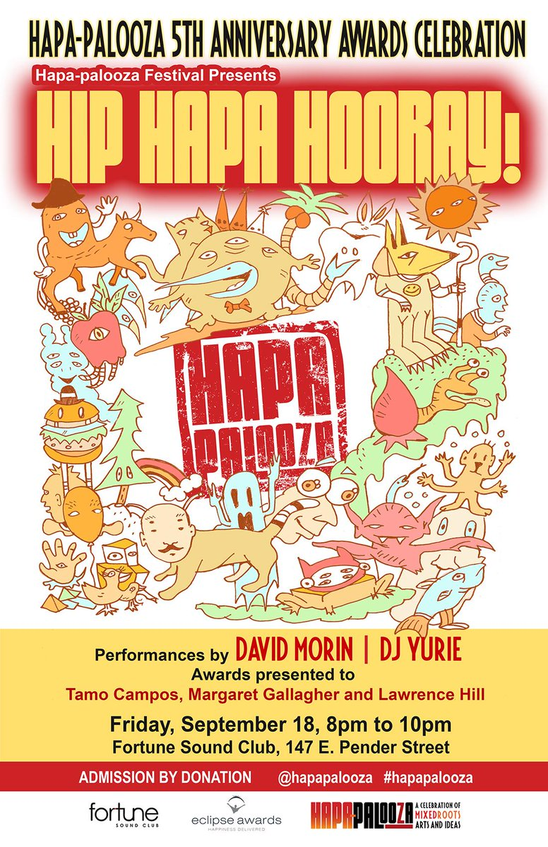 TONIGHT! @Hapapalooza at @FortuneSound. Music by @davidmorinmusic @ChristineYurie! Doors 8pm, by donation #HAPAHIGH5 http://t.co/sCussj72hO