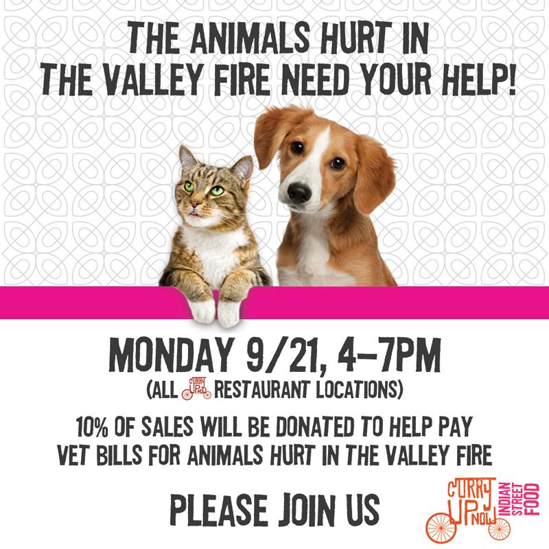 Join us Monday 4-7pm to help our neighbors to the north. Many pets have been injured in the #ValleyFire & need help. http://t.co/RkIt9SMReR