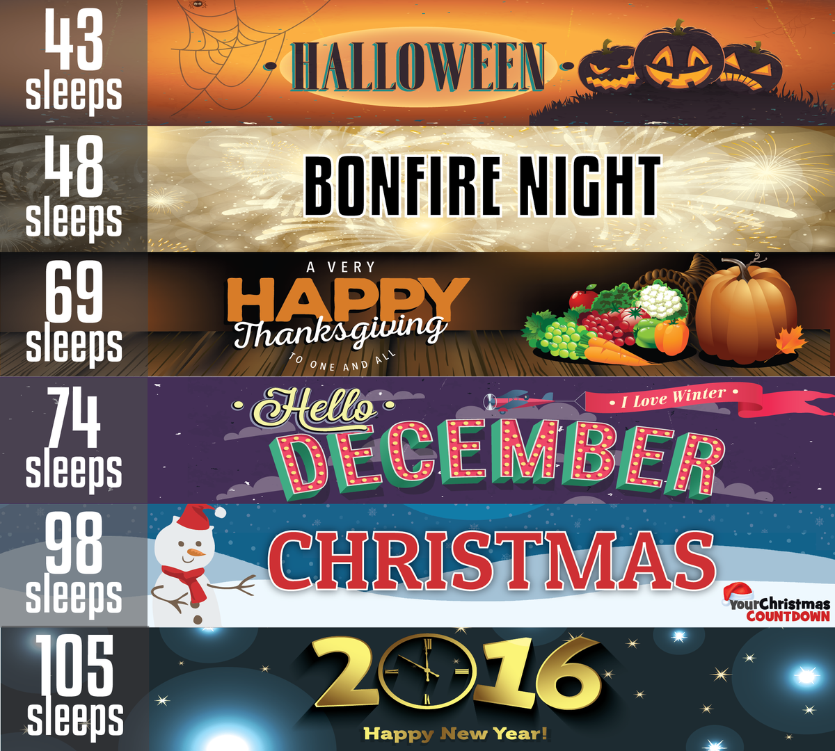 your christmas countdown on twitter sleeps left until halloween bonfirenight thanksgiving december christmas newyear httptco08kjvawqc2 - Halloween Thanksgiving Christmas