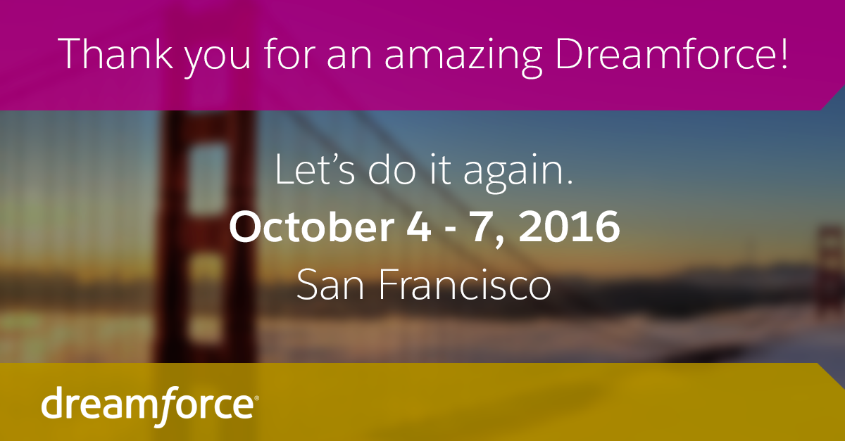 It's been a phenomenal week at #Dreamforce. Let's do it again next year! http://t.co/RnBAXWDeMW