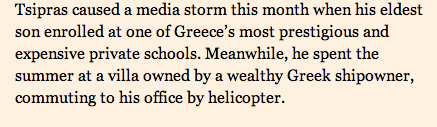 Helicopter socialist. Tsipras commuted to work on a chopper from a villa owned by a shipowner http://t.co/XosgN4mFAt