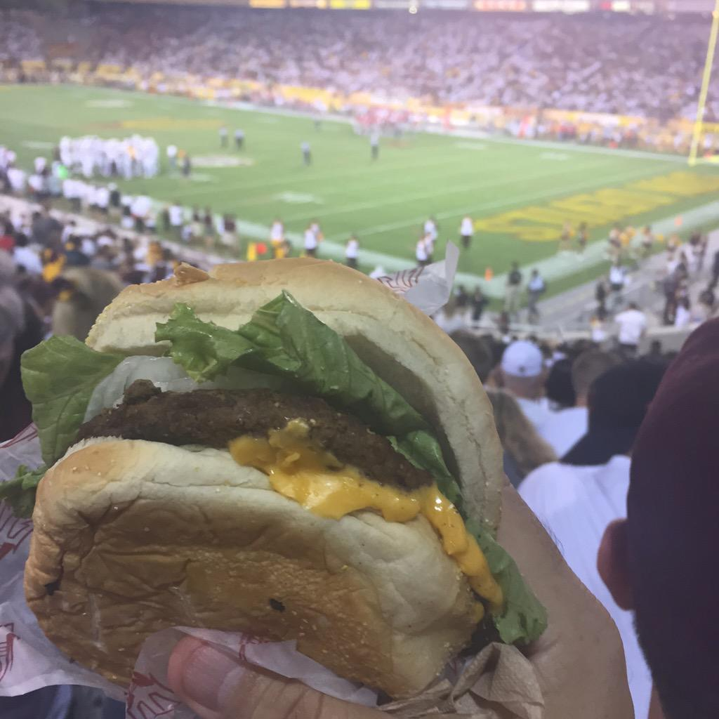 Another lackluster game by #ASU. Best part was this cheeseburger. #NationalCheeseburgerDay http://t.co/xievf4nT8V