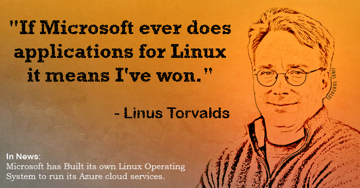 And Finally, He Won! #Microsoft has developed its own #Linux OS to run its Cloud Services. http://t.co/tnUelpdyOo http://t.co/iyHUf5td2p