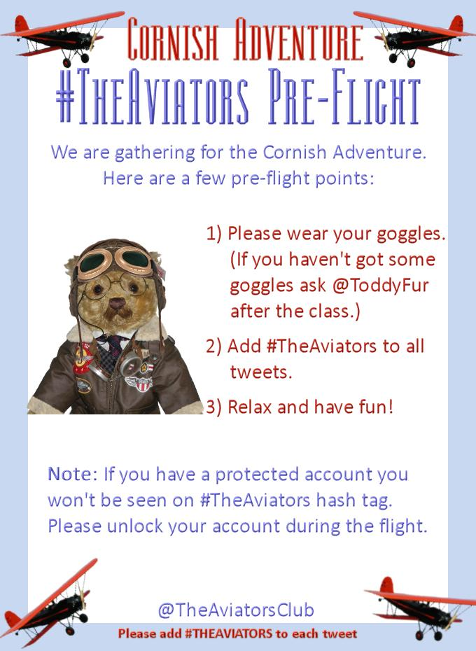 It's time to gather for #TheAviators Cornish adventure flight. Goggles on and check your ladybug chaps. http://t.co/rEdhKG0bWT