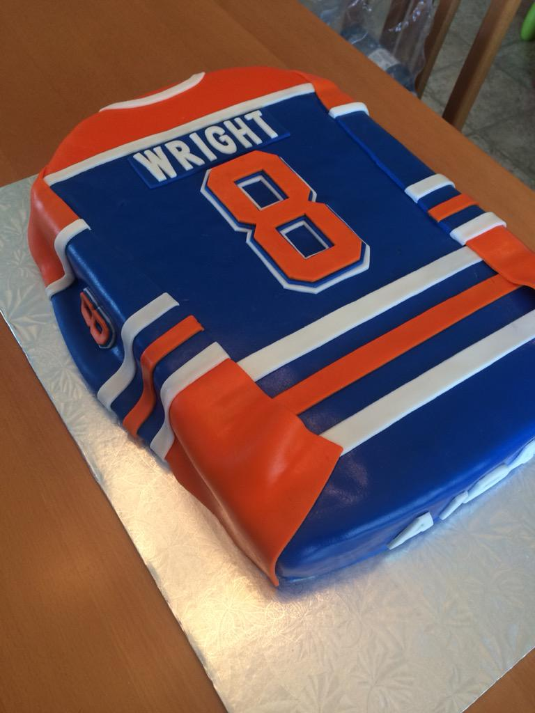 ... Aidans 8th Bday hockey party today. Just finished the jersey cake  EdmontonOilers jerseycake yesiamthecakequeen pic ... 8be9d5f1f
