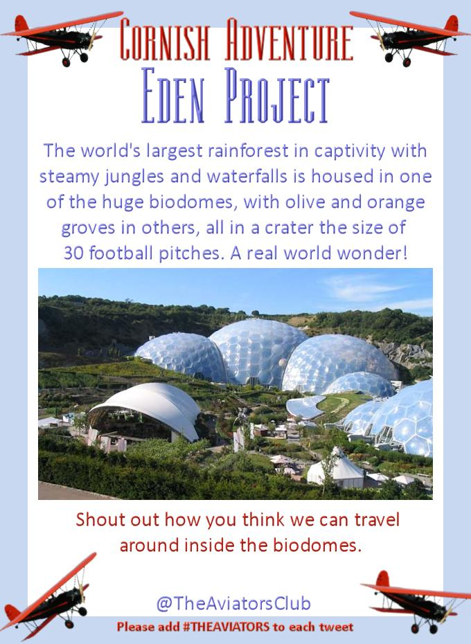 Flying on south to the Eden Project - the world's largest greenhouse hosting a captive rainforest! #TheAviators http://t.co/Fv61gDBd3a