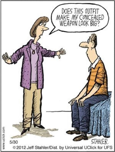 RT @WellArmedWoman: Sometimes choosing the right outfit to conceal your gun is hard. Love this cartoon