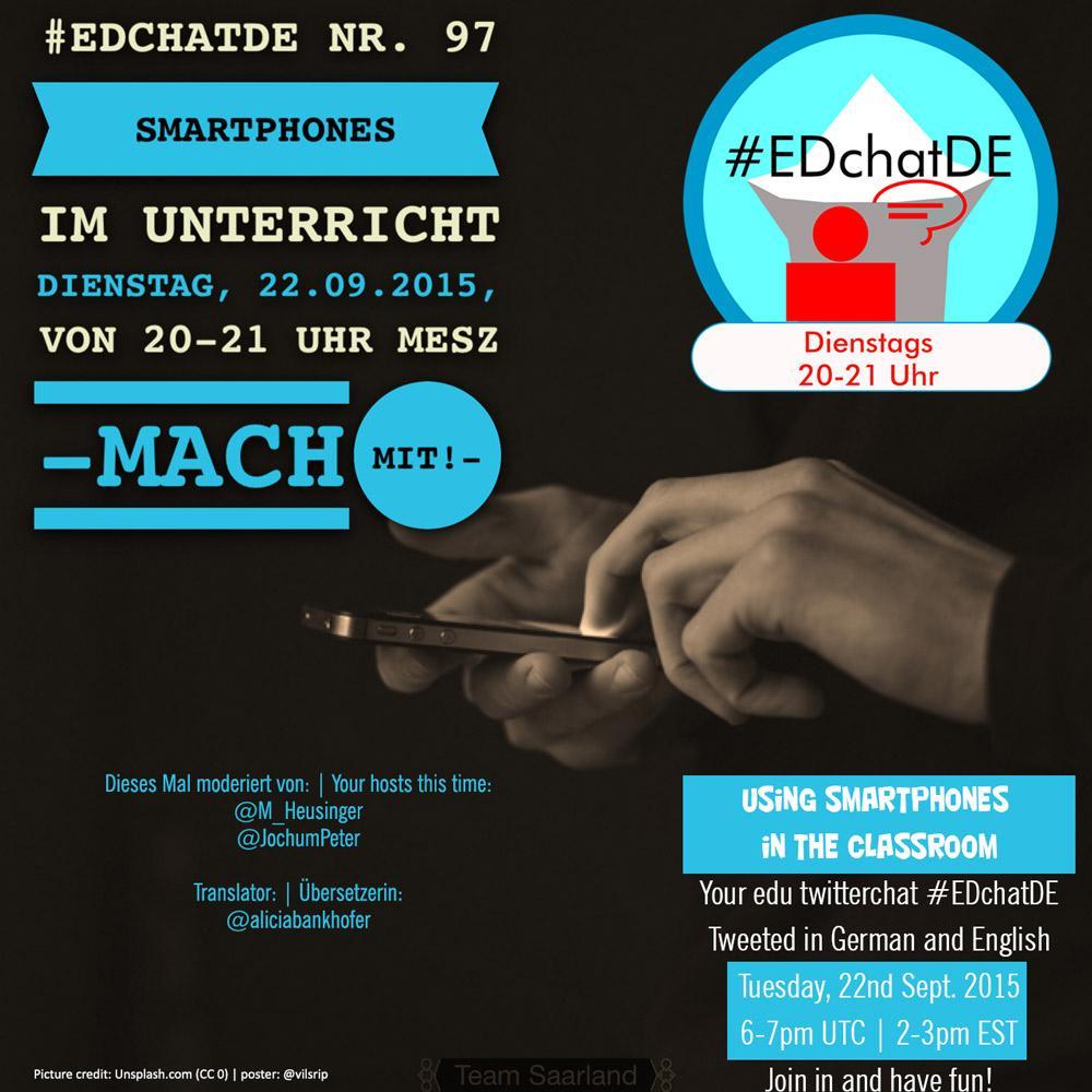 """#EDchatDE Premiere: @M_Heusinger & @JochumPeter als Moderatoren: """"Smartphones im Unterricht"""", (tr. @aliciabankhofer) http://t.co/9VEPzcKS9a"""
