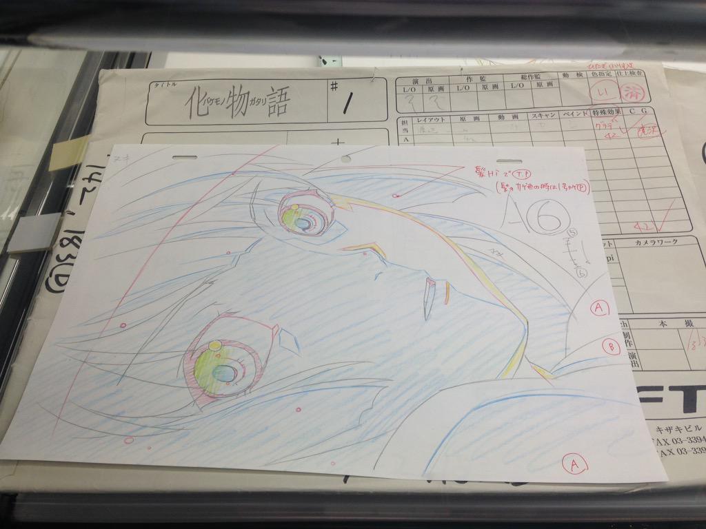 【京まふ2015】ショーケースは実際に使用された絵コンテ、原画などを飾っています。 化物語第1話のひたぎさんと、叛逆のさやかちゃん。