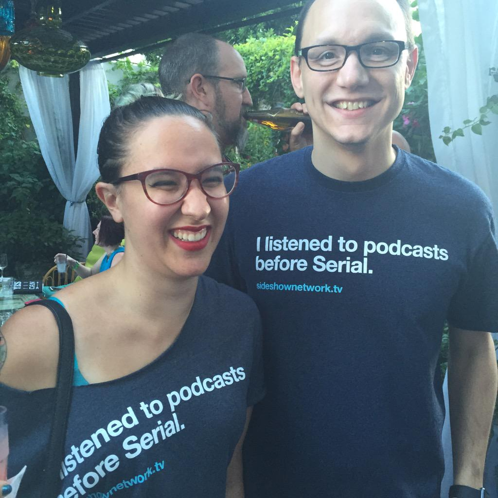Best T-shirts at #AudibleLAPodFest from @SideshowNetwork http://t.co/a8Vej1vKVK