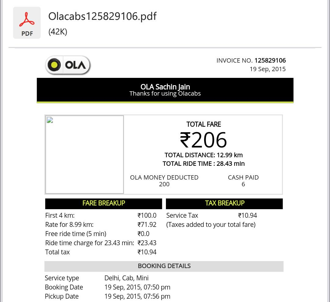 OLA cab's effective rate is almost Rs 16/km. Double of what they advertise (Rs 8/km) for Mini. http://t.co/08hvvhHIs7