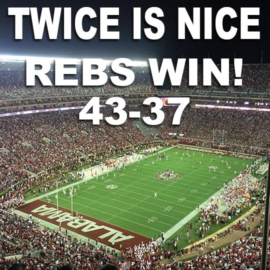 The Rebels knock off Alabama 43-37! #HottyToddy #TwiceisNice #MissvsBama http://t.co/eJqZThWyxC