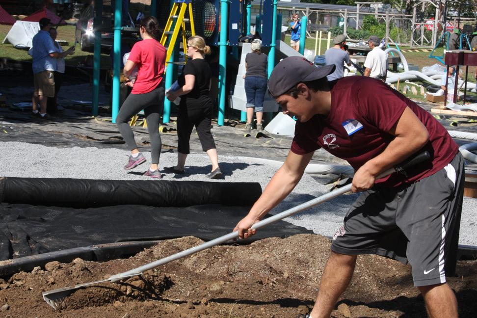 Thumbnail for Kingston High School football players help Onteora teammates at Woodstock playground build
