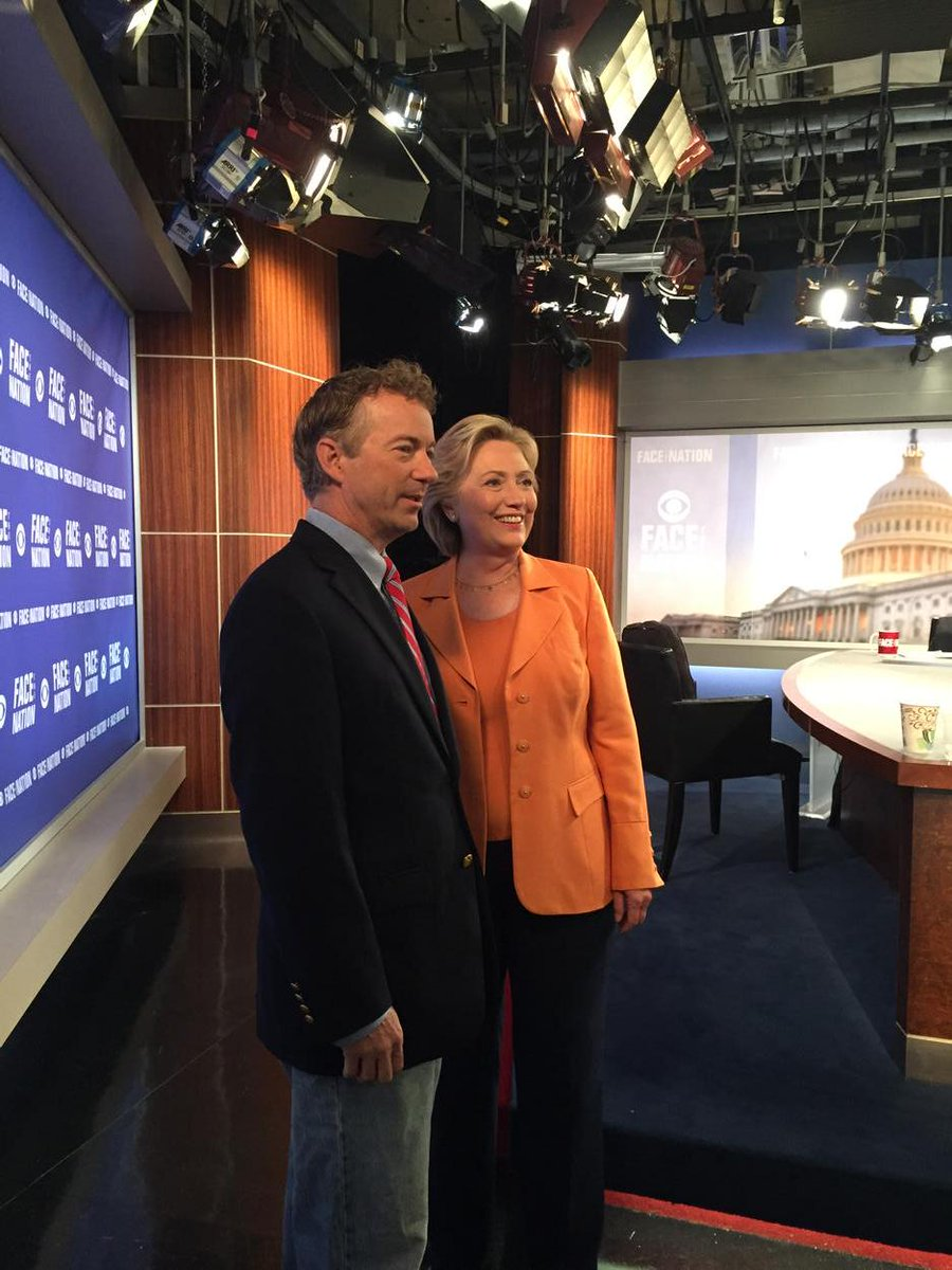 @HillaryClinton and @RandPaul on the set of @FaceTheNation. Ready to sit down with @johndickerson. Tune in! http://t.co/LNpmJ3xGaU
