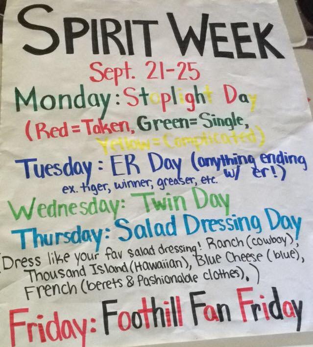 Foothill asb on twitter quot spirit week starts tomorrow dress up