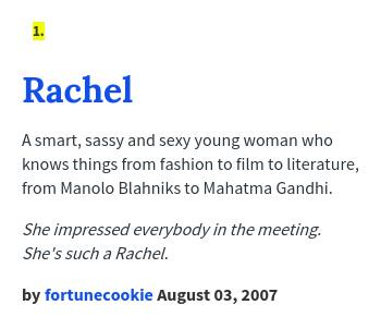 What Does Rachel Mean Urban Dictionary