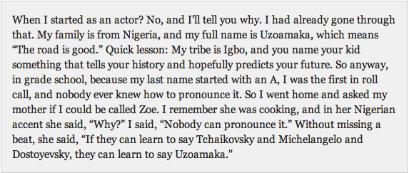 Here's Uzo on why she never caved to pressure to change her name: http://t.co/TIny8619bJ