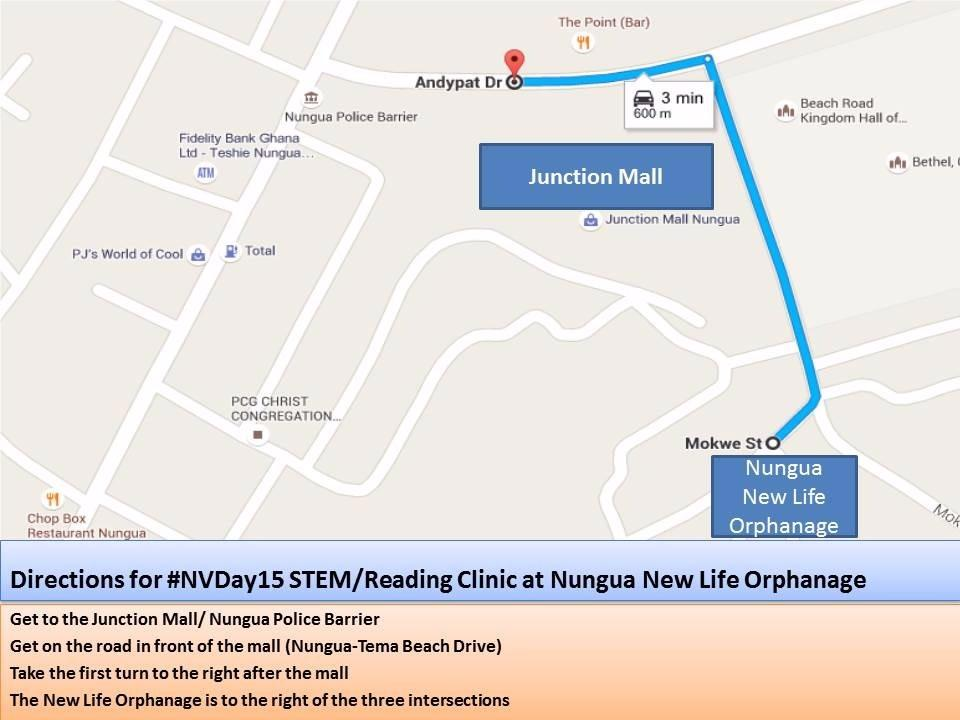 Directions to the STEM/Reading Clinic #NVDay15 activity today at the Nungua New Life orphanage...take note :-) http://t.co/mAJbM8A7Ot