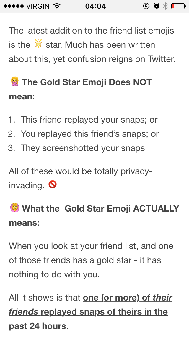 What the gold star on Snapchat ACTUALLY means #goldstar #snapchat http://t.co/F5xmfoWIVt